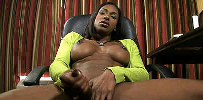 After school Excited ebony ladyboy Natalia Coxxx playing with herself.